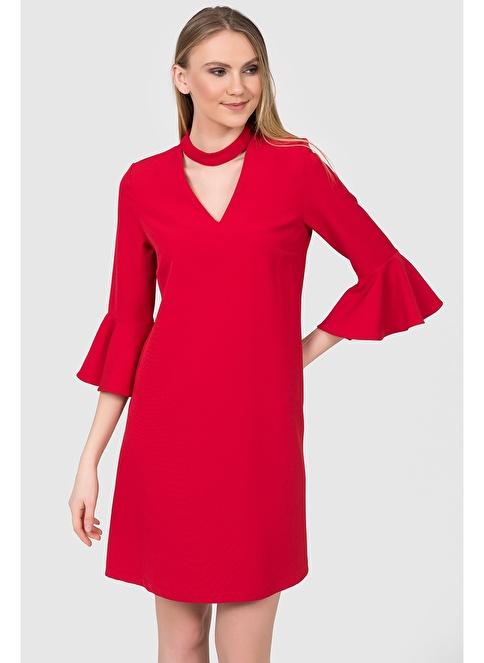 İroni Choker Yaka Volanlı Elbise Kırmızı